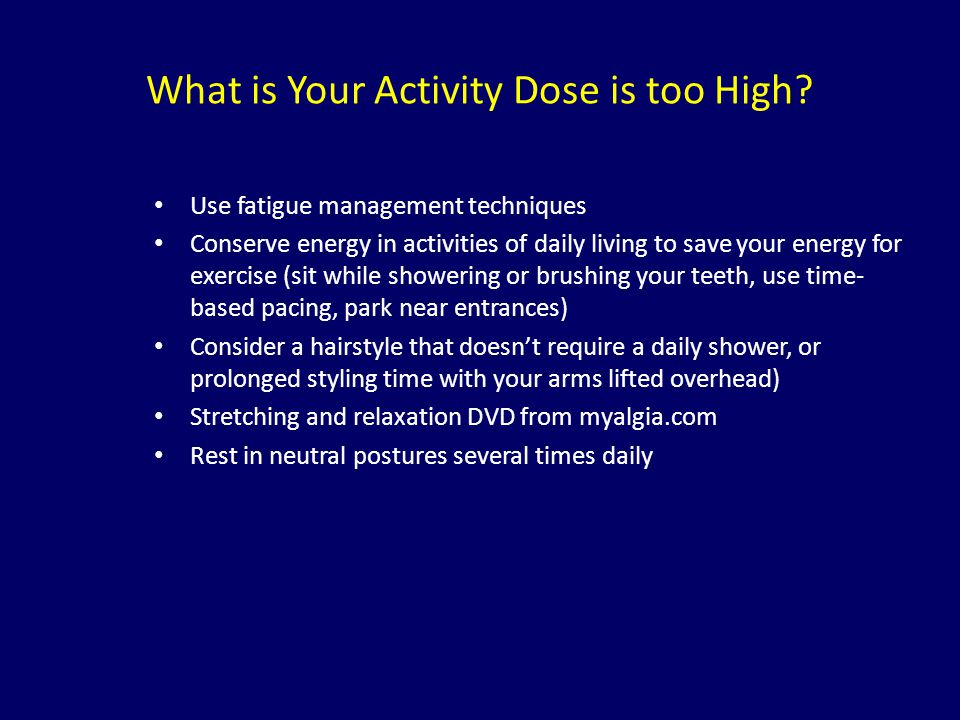 What is Your Activity Dose is too High