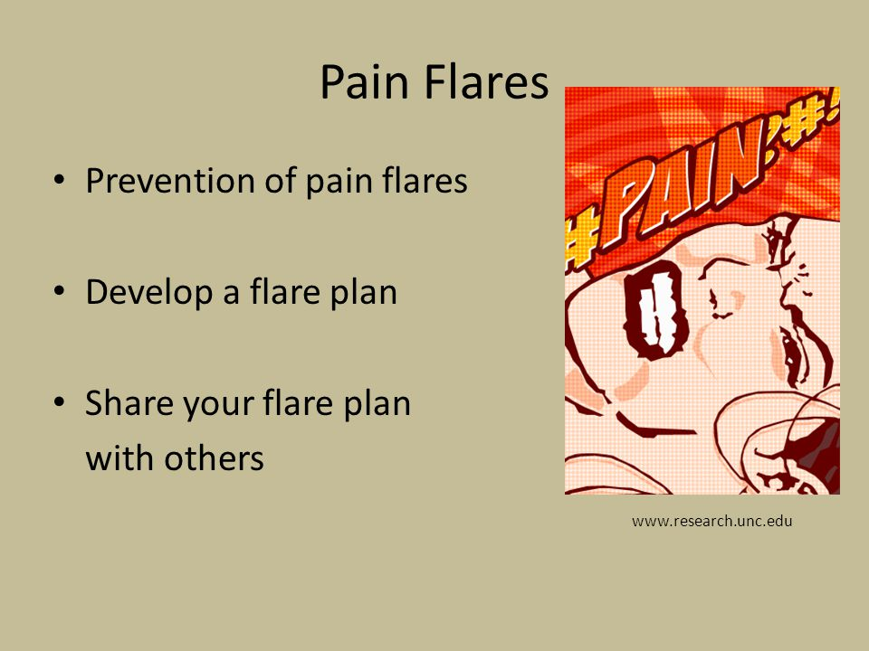 Pain Flares Prevention of pain flares Develop a flare plan