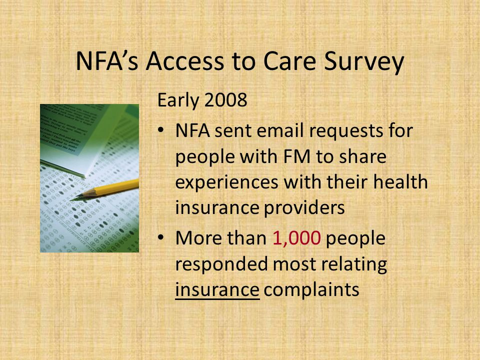 NFA's Access to Care Survey