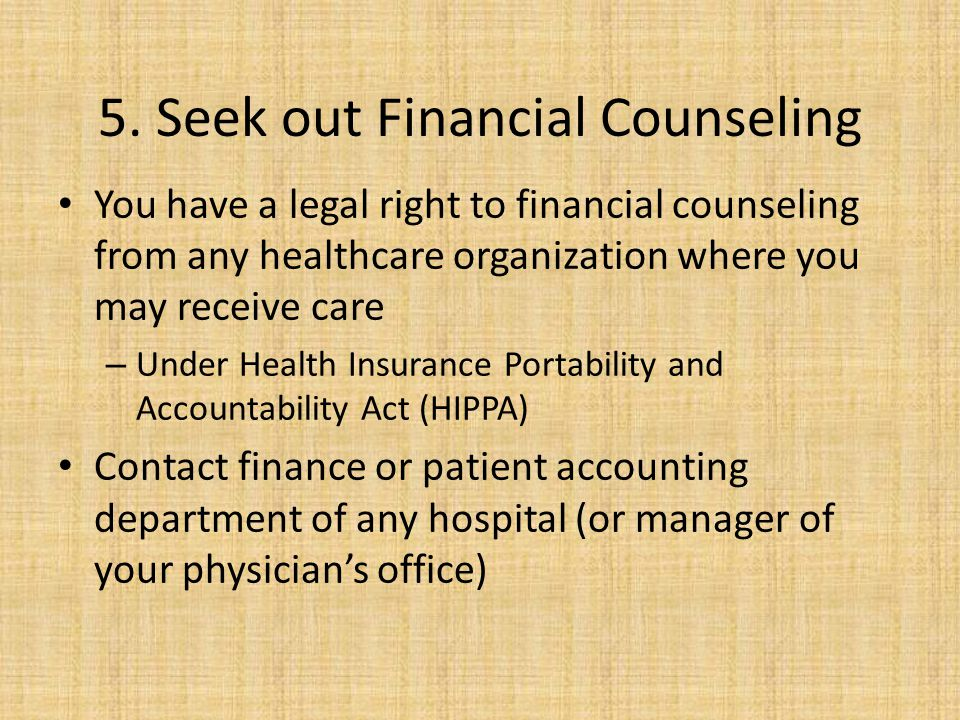 5. Seek out Financial Counseling