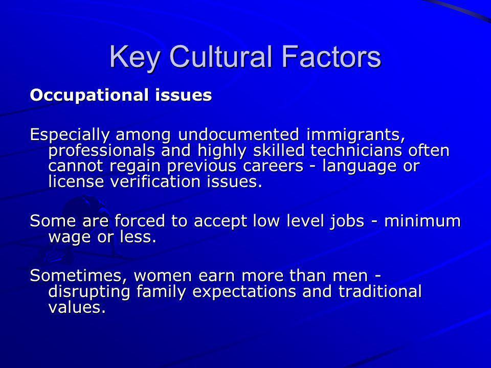 Key Cultural Factors Occupational issues