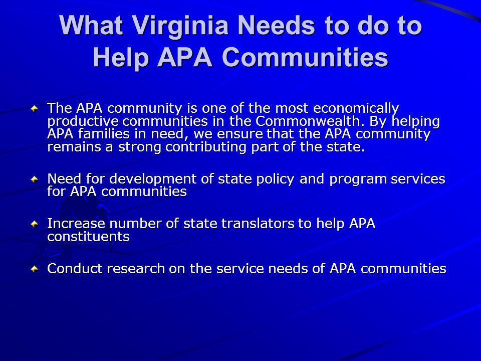 What Virginia Needs to do to Help APA Communities