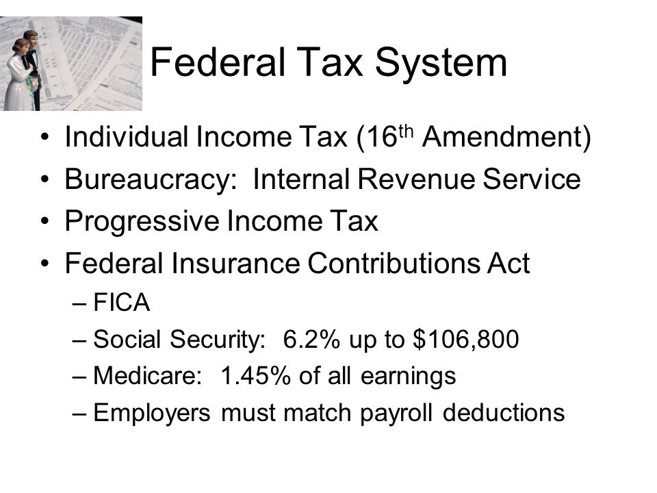 Federal Tax System Individual Income Tax (16th Amendment)
