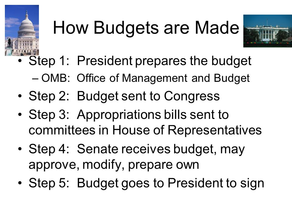 How Budgets are Made Step 1: President prepares the budget