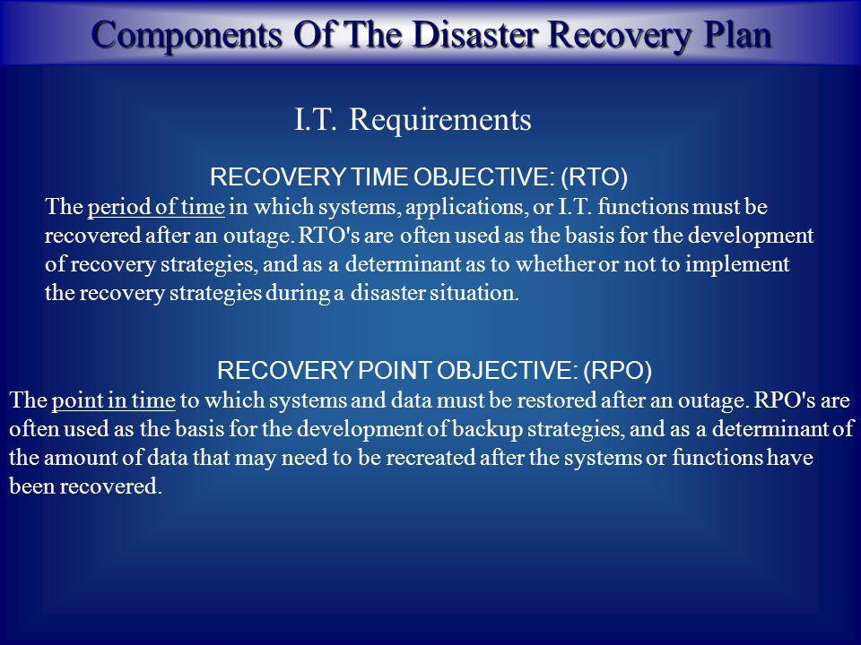 Components Of The Disaster Recovery Plan