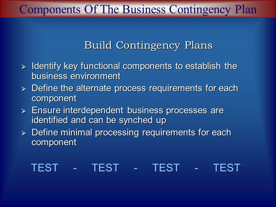 Build Contingency Plans