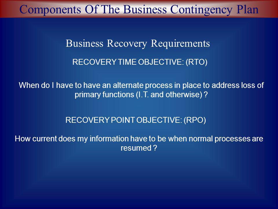 Components Of The Business Contingency Plan