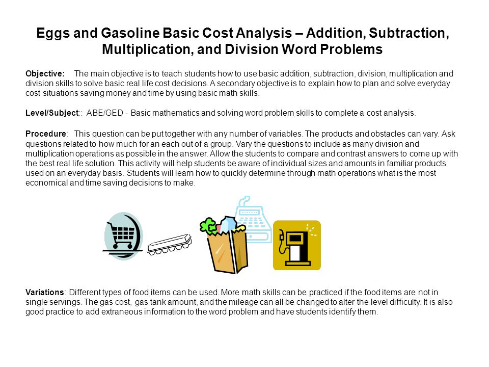 Eggs and Gasoline Basic Cost Analysis – Addition, Subtraction, Multiplication, and Division Word Problems