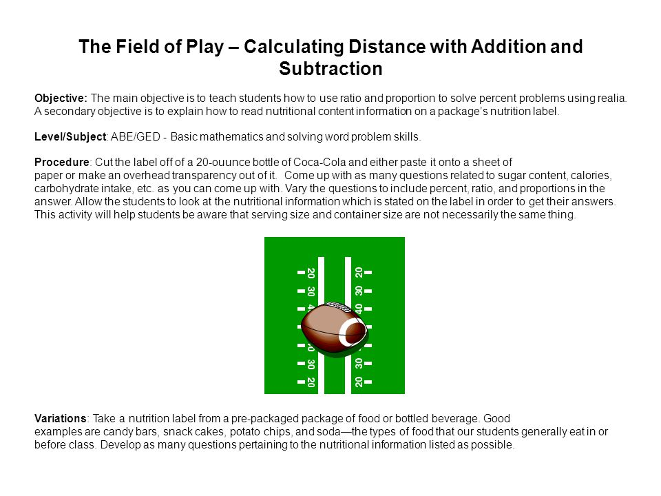 The Field of Play – Calculating Distance with Addition and Subtraction