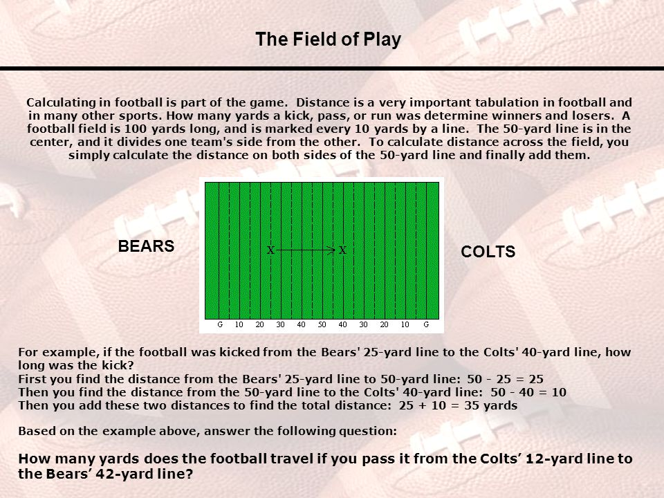 The Field of Play BEARS COLTS