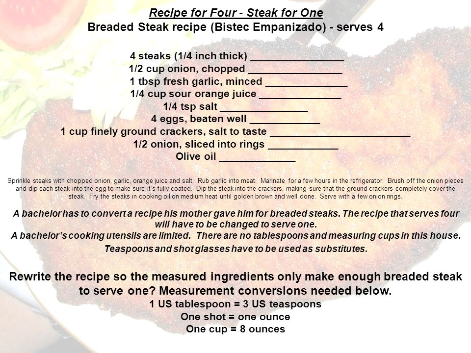 Breaded Steak recipe (Bistec Empanizado) - serves 4