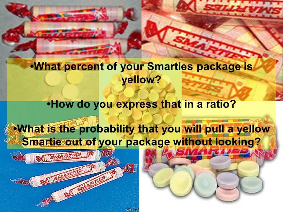 •What percent of your Smarties package is yellow