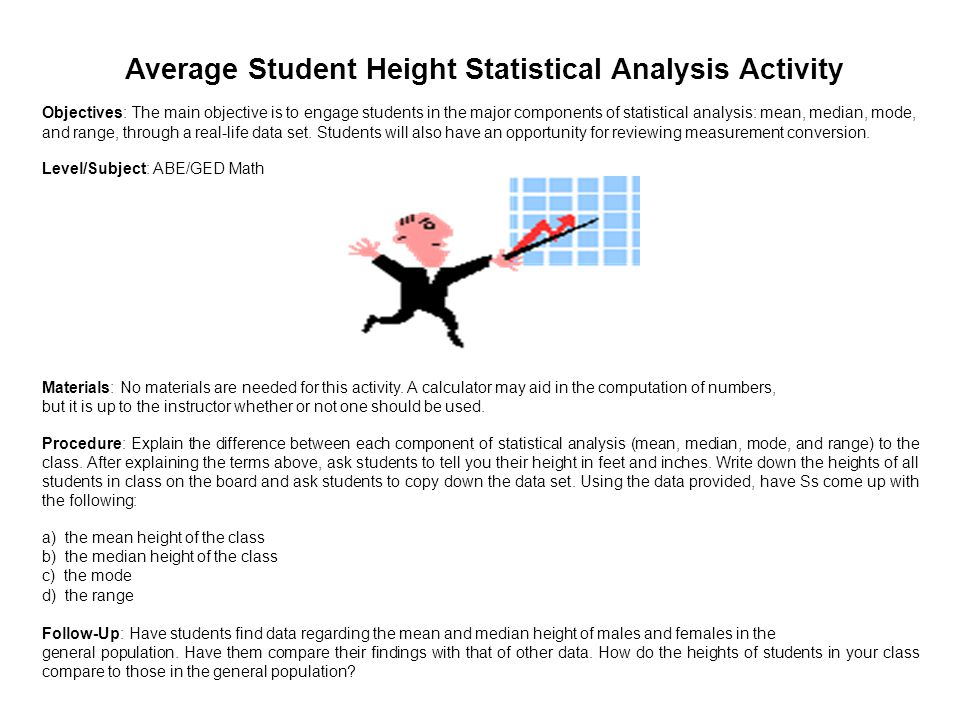 Average Student Height Statistical Analysis Activity