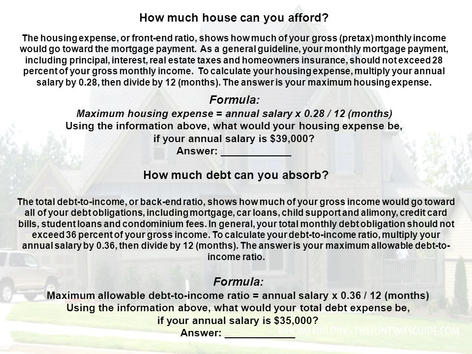 How much house can you afford Formula: How much debt can you absorb