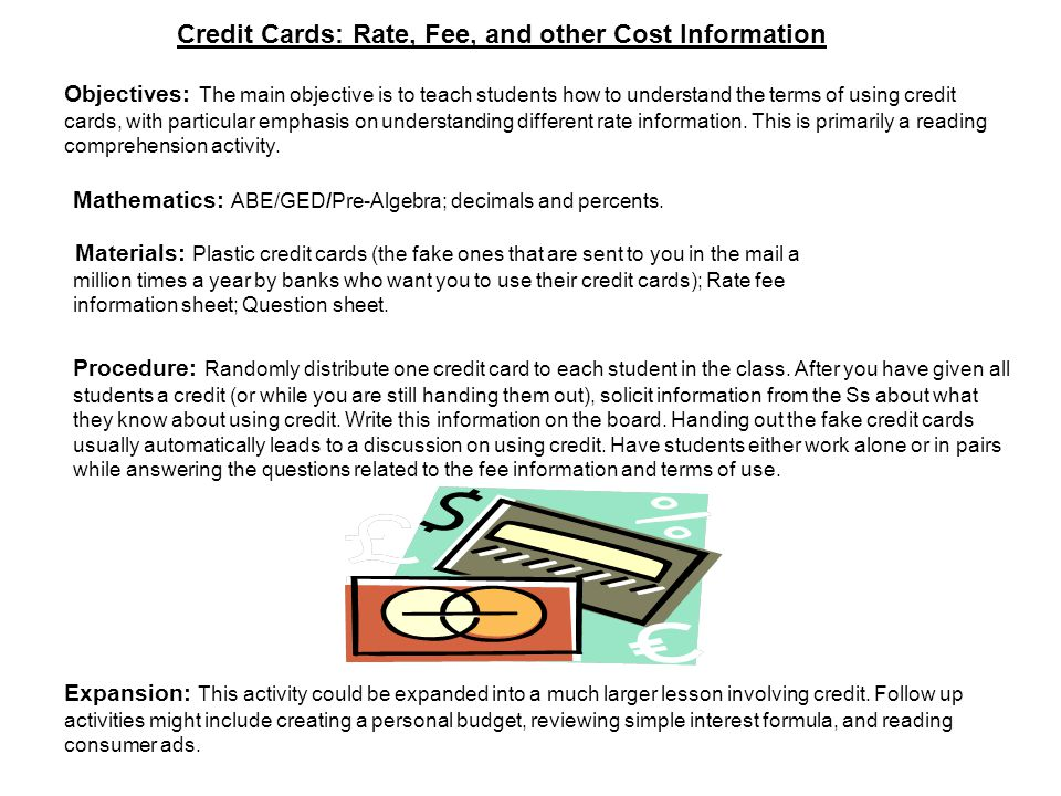 Credit Cards: Rate, Fee, and other Cost Information