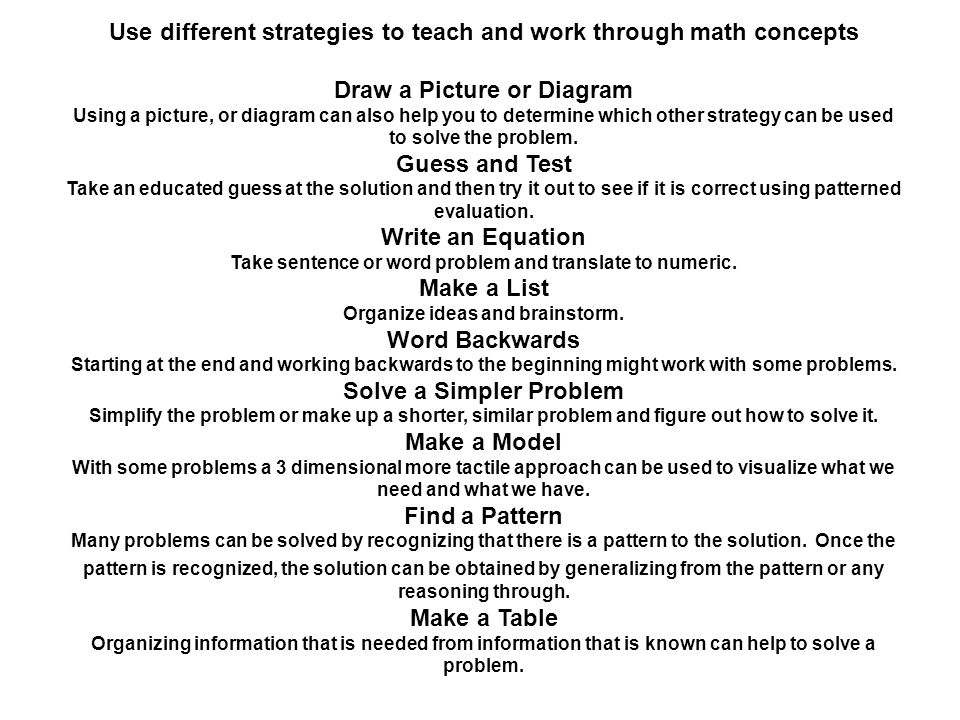 Use different strategies to teach and work through math concepts