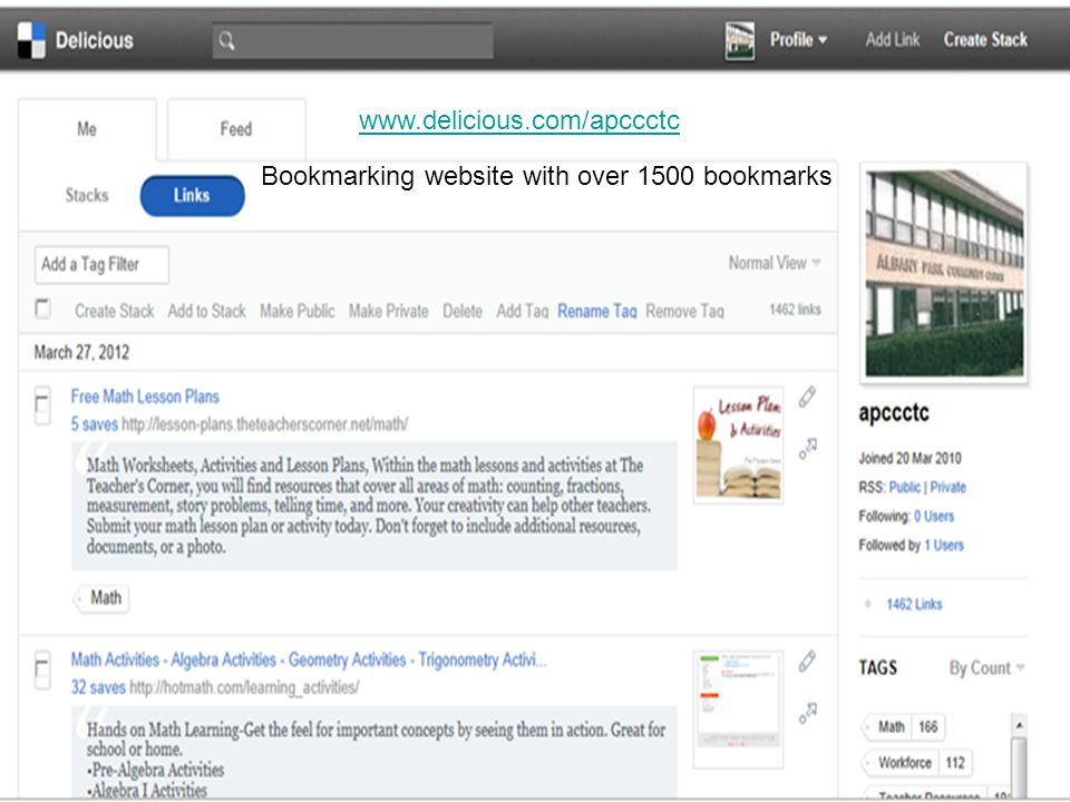 www.delicious.com/apccctc Bookmarking website with over 1500 bookmarks
