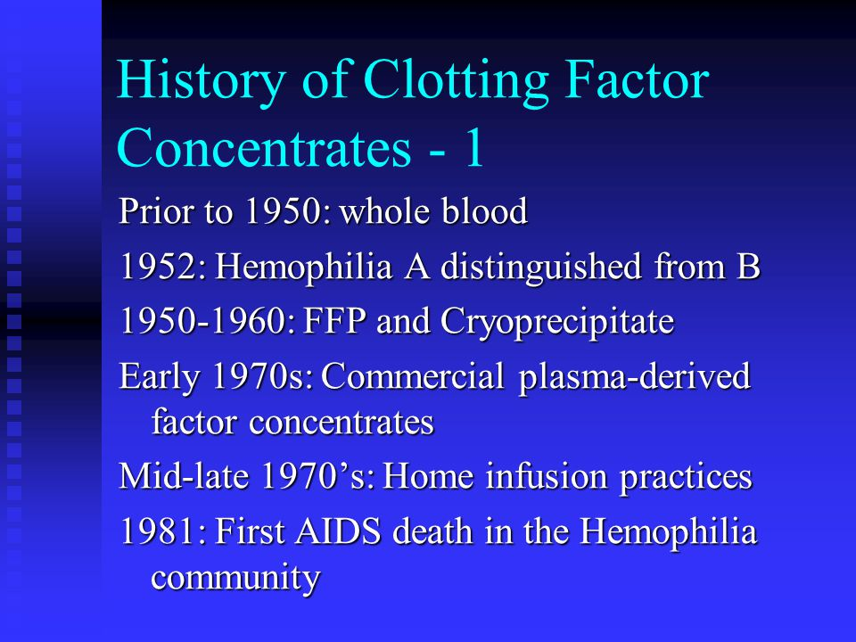 History of Clotting Factor Concentrates - 1