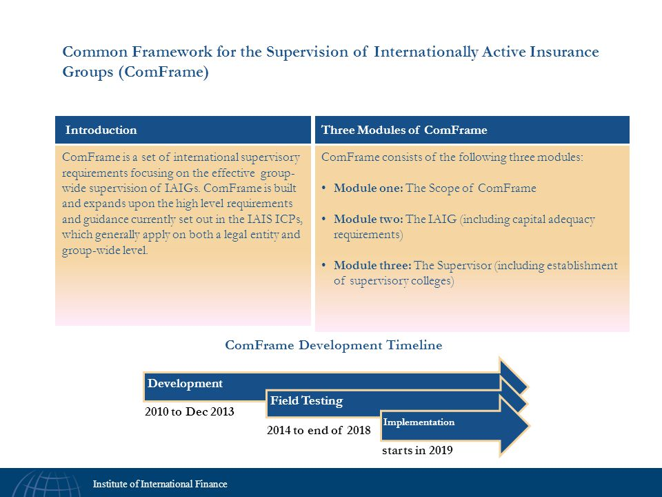 Common Framework for the Supervision of Internationally Active Insurance Groups (ComFrame)