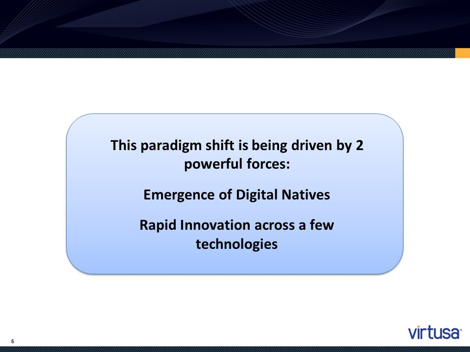 This paradigm shift is being driven by 2 powerful forces: