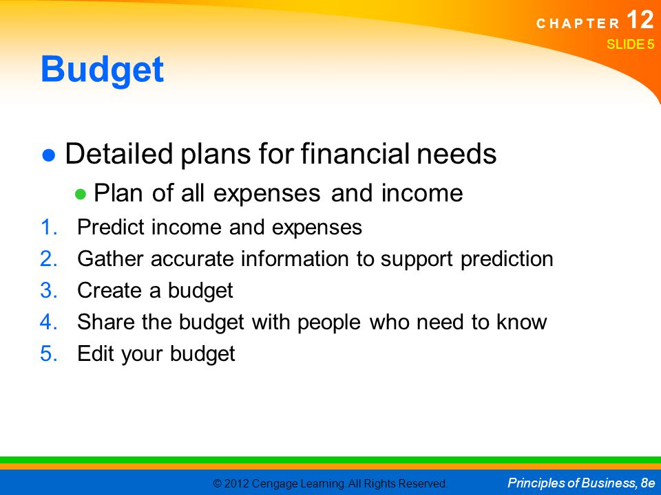 Budget Detailed plans for financial needs