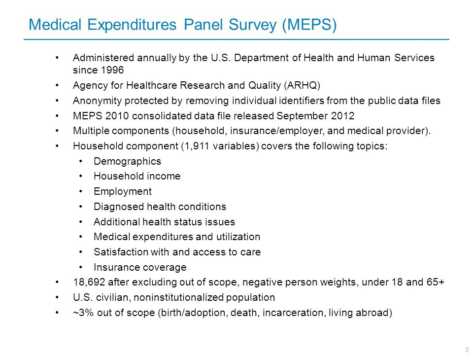 Medical Expenditures Panel Survey (MEPS)