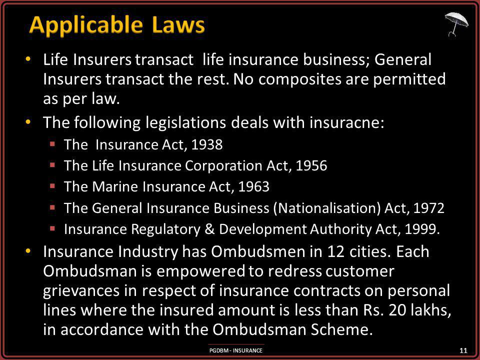 Applicable Laws Life Insurers transact life insurance business; General Insurers transact the rest. No composites are permitted as per law.