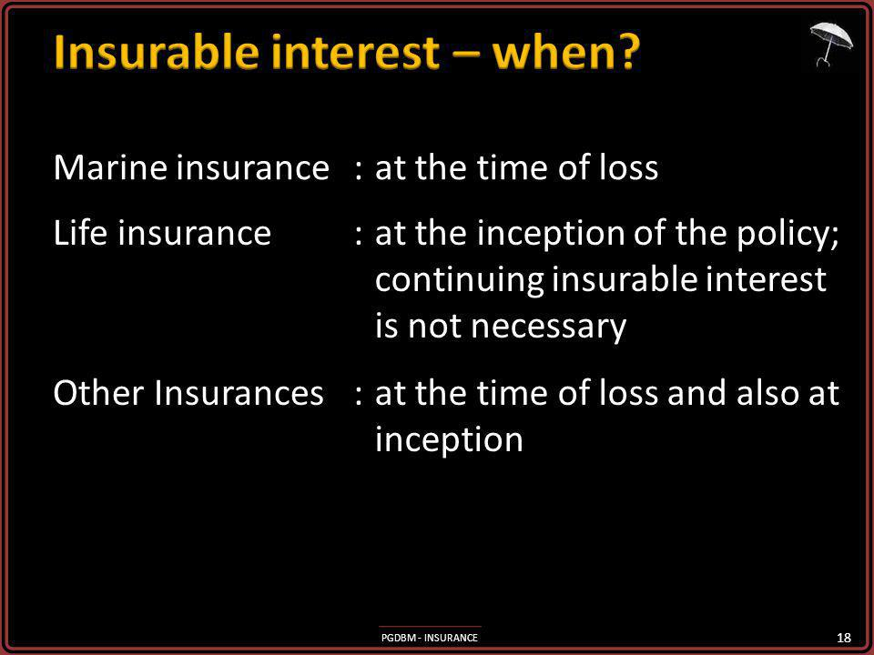 Insurable interest – when