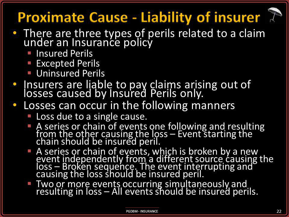 Proximate Cause - Liability of insurer