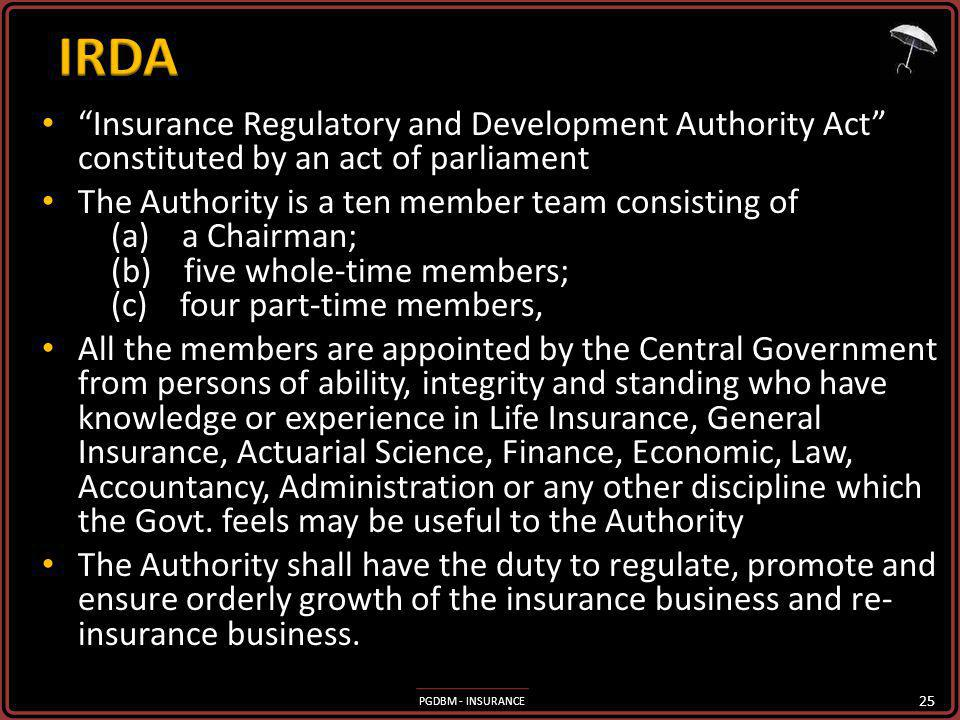 IRDA Insurance Regulatory and Development Authority Act constituted by an act of parliament.