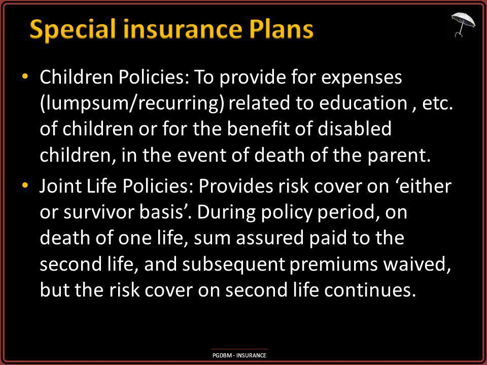 Special insurance Plans