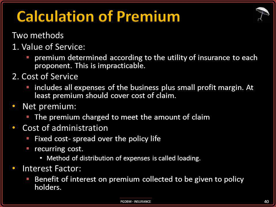 Calculation of Premium