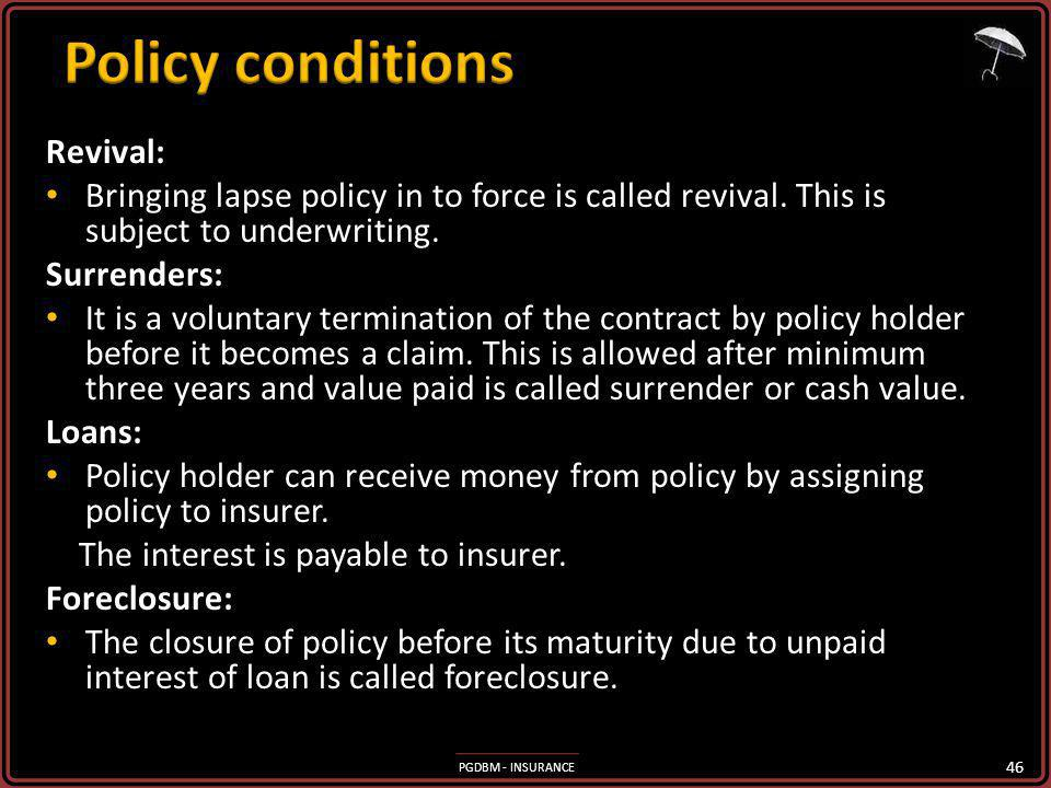 Policy conditions Revival: