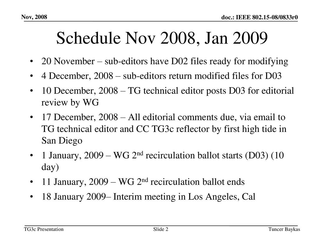 Mar 19, 2008 doc.: IEEE /XXXr0. Nov, Schedule Nov 2008, Jan November – sub-editors have D02 files ready for modifying.