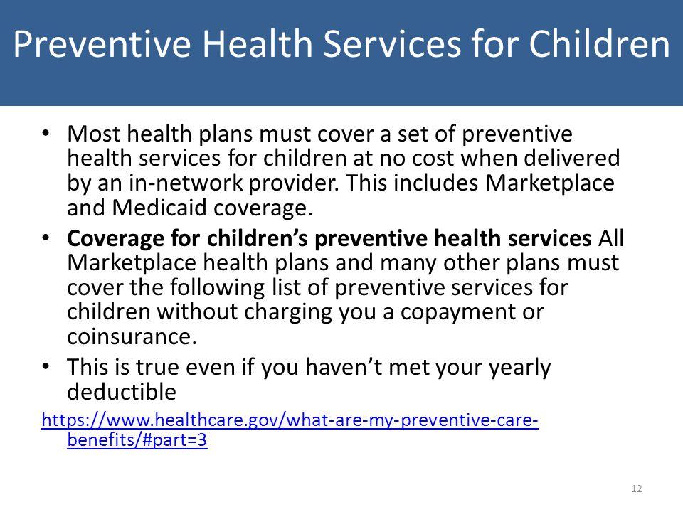 Preventive Health Services for Children