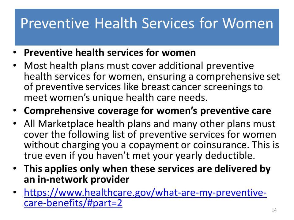 Preventive Health Services for Women