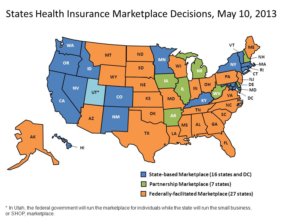States Health Insurance Marketplace Decisions, May 10, 2013