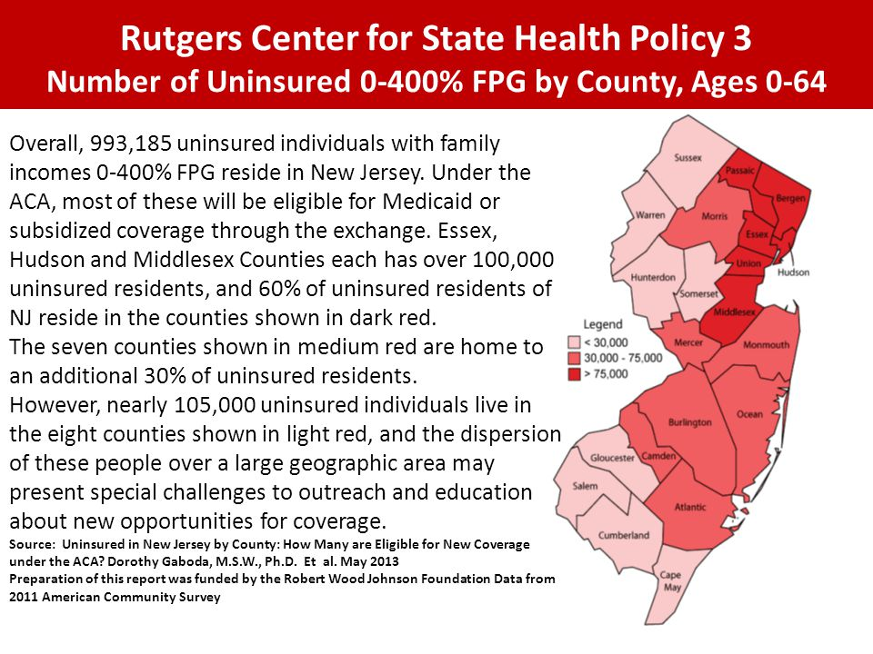 Rutgers Center for State Health Policy 3 Number of Uninsured 0-400% FPG by County, Ages 0-64