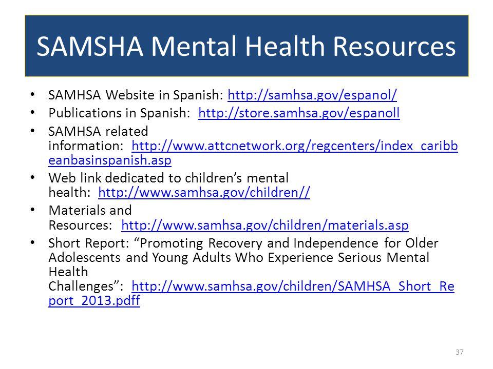 SAMSHA Mental Health Resources