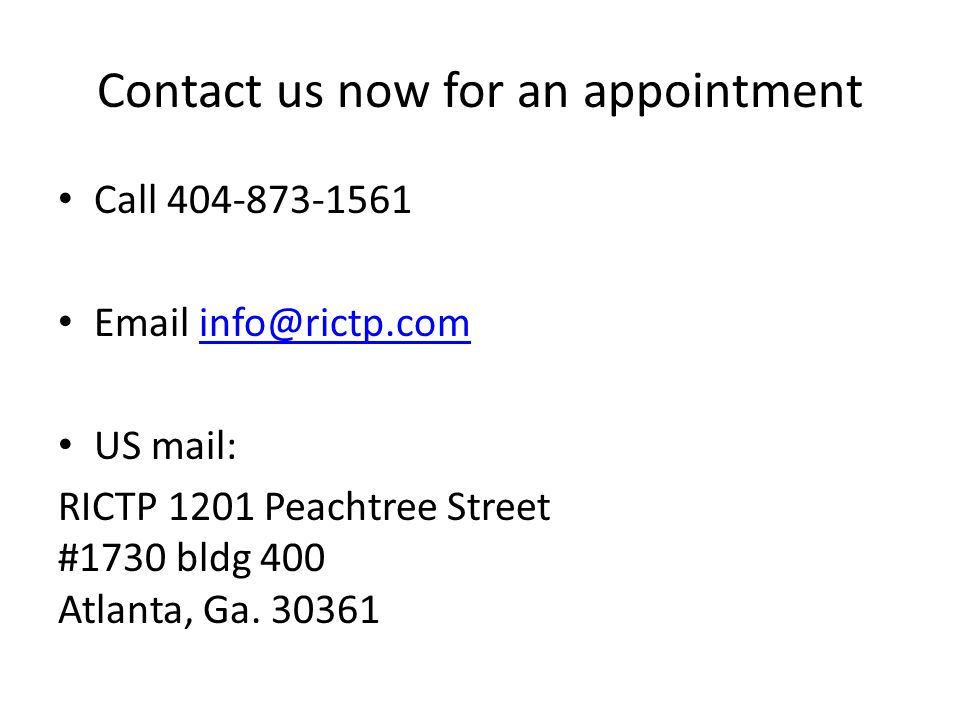 Contact us now for an appointment