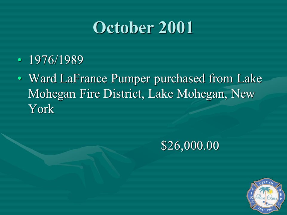 October 2001 1976/1989. Ward LaFrance Pumper purchased from Lake Mohegan Fire District, Lake Mohegan, New York.