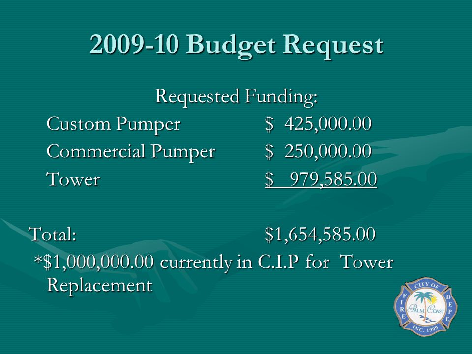 2009-10 Budget Request Requested Funding: Custom Pumper $ 425,000.00