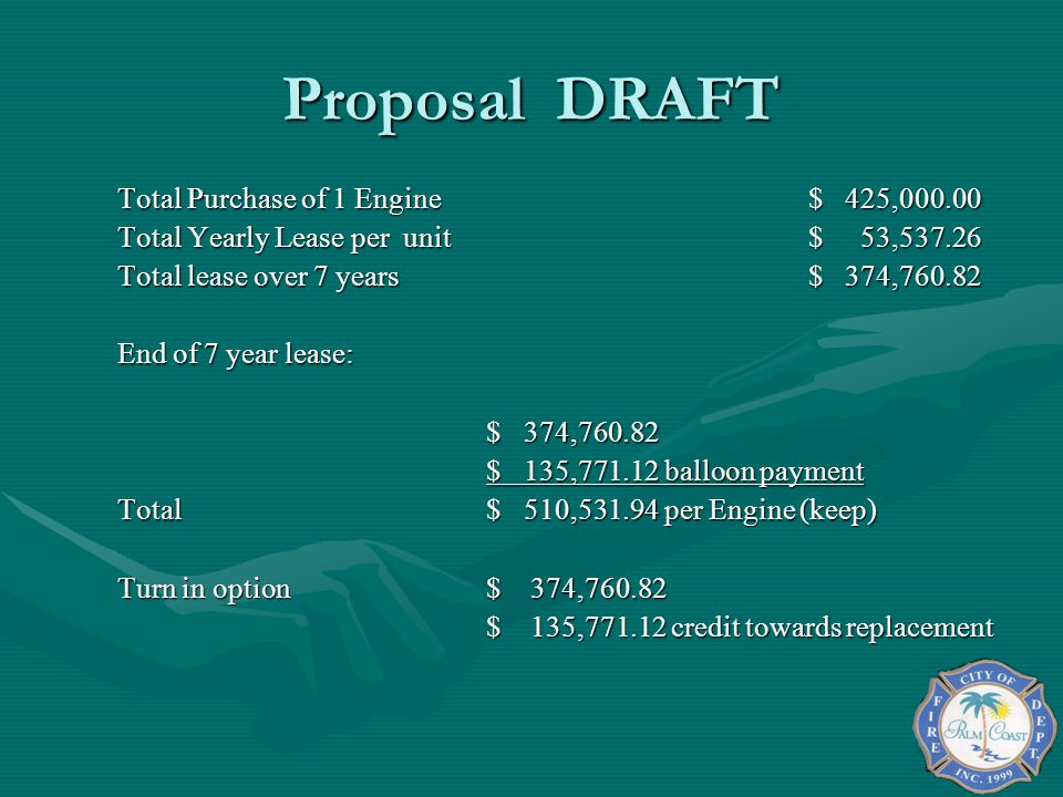 Proposal DRAFT Total Purchase of 1 Engine $ 425,000.00