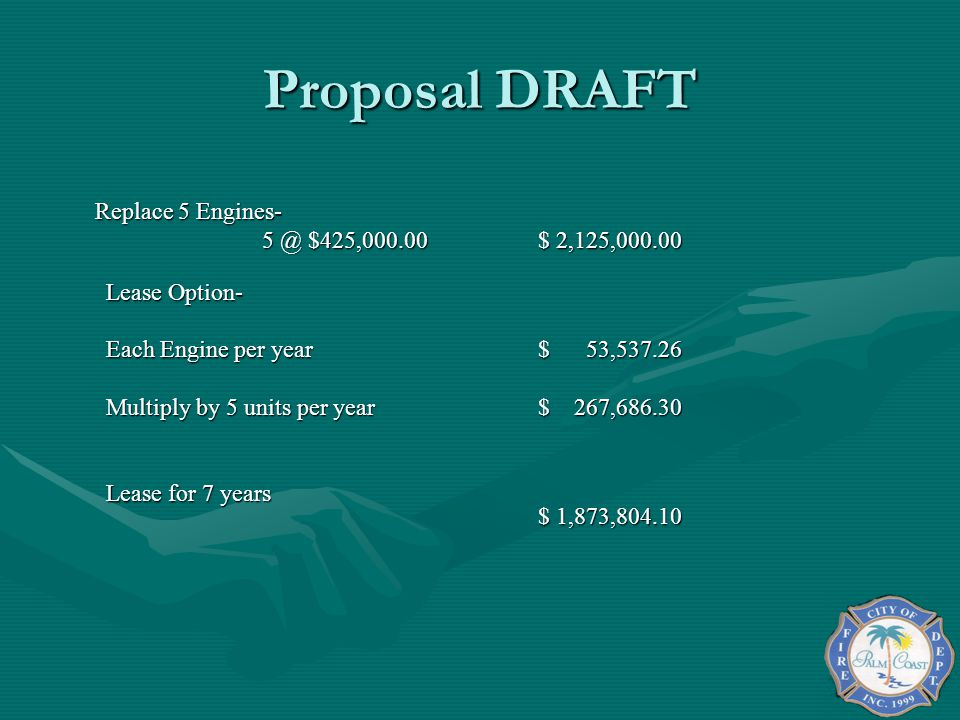 Proposal DRAFT 5 @ $425,000.00 $ 2,125,000.00 Lease Option-