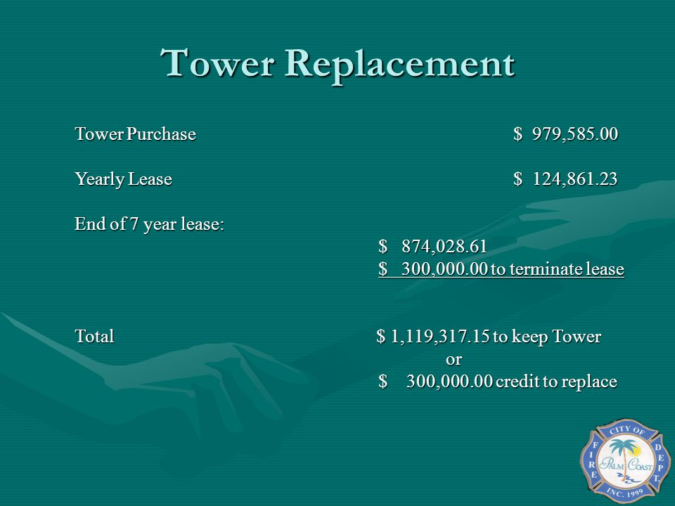 Tower Replacement Tower Purchase $ 979,585.00