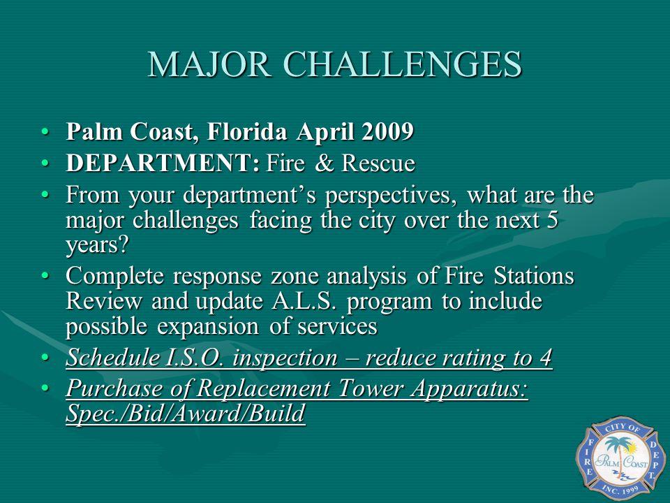MAJOR CHALLENGES Palm Coast, Florida April 2009