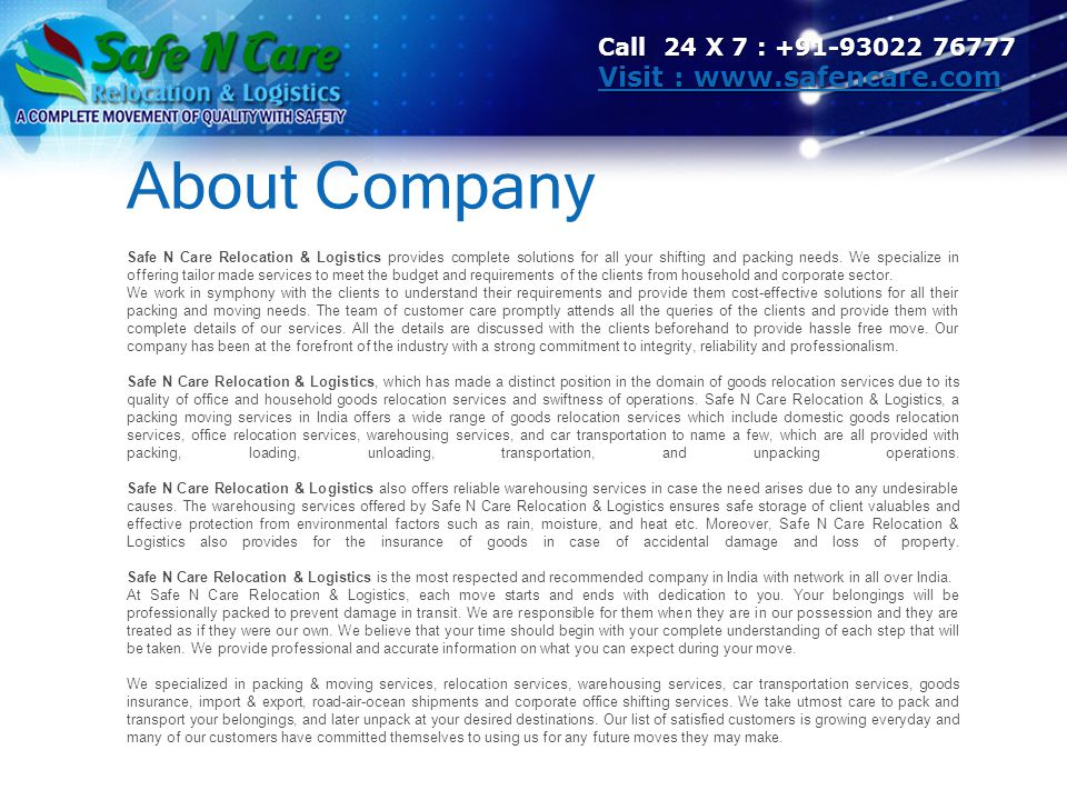 About Company Visit : www.safencare.com Call 24 X 7 : +91-93022 76777