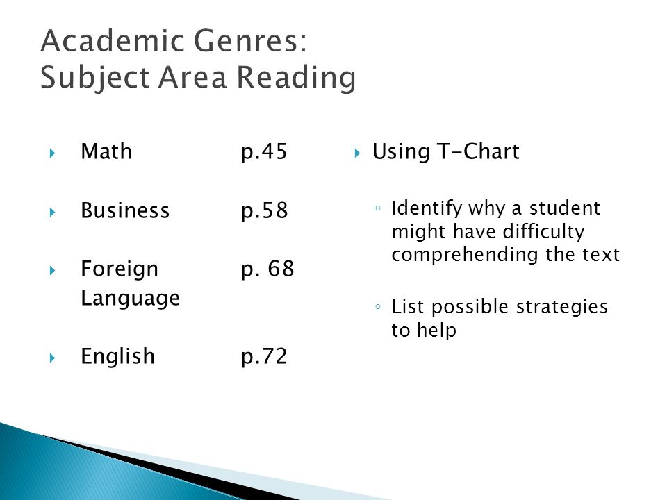 Academic Genres: Subject Area Reading