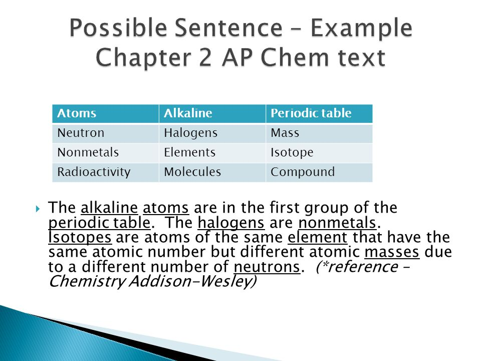 Possible Sentence – Example Chapter 2 AP Chem text