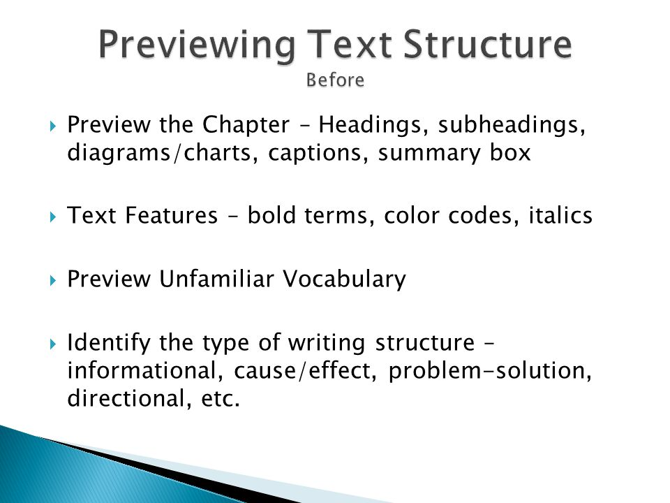 Previewing Text Structure Before